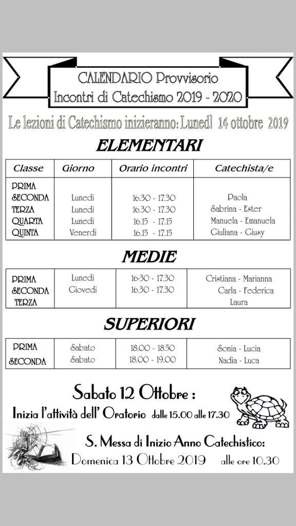 Calendario catechesi